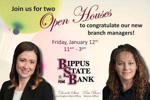 Open house announcement recognizing Danielle Shaw and Patti Bustos as branch managers.